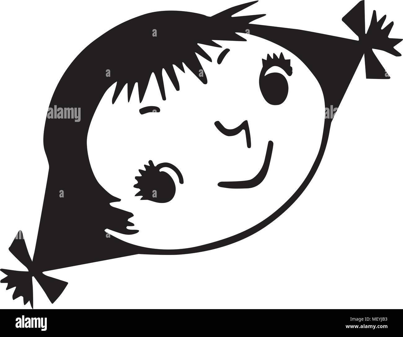 Cute cartoon girl with pigtails, black hair and dark skin ...Jaelyn image  applique idea.   Girl with pigtails, Cute cartoon girl, Girl cartoon