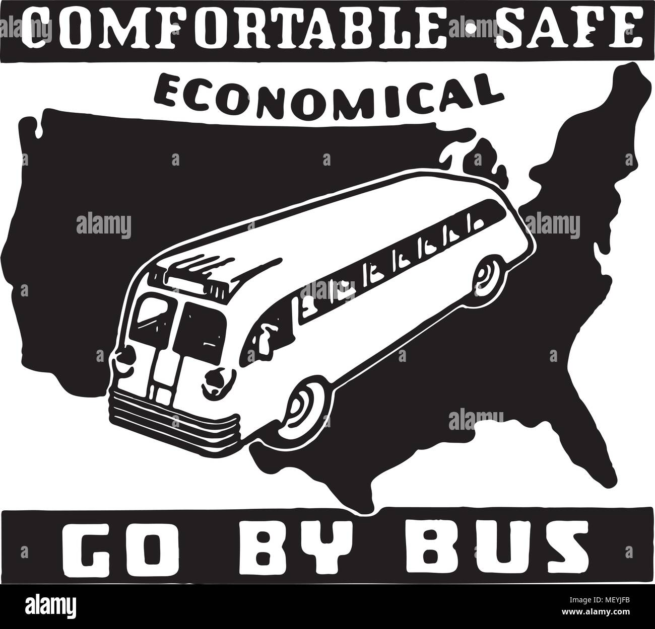 Go By Bus 2 - Retro Ad Art Banner - Stock Vector