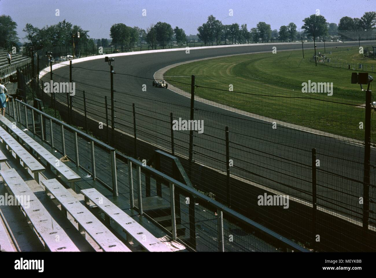 Race cars and empty bleechers are visible at the Indianapolis 500 ...