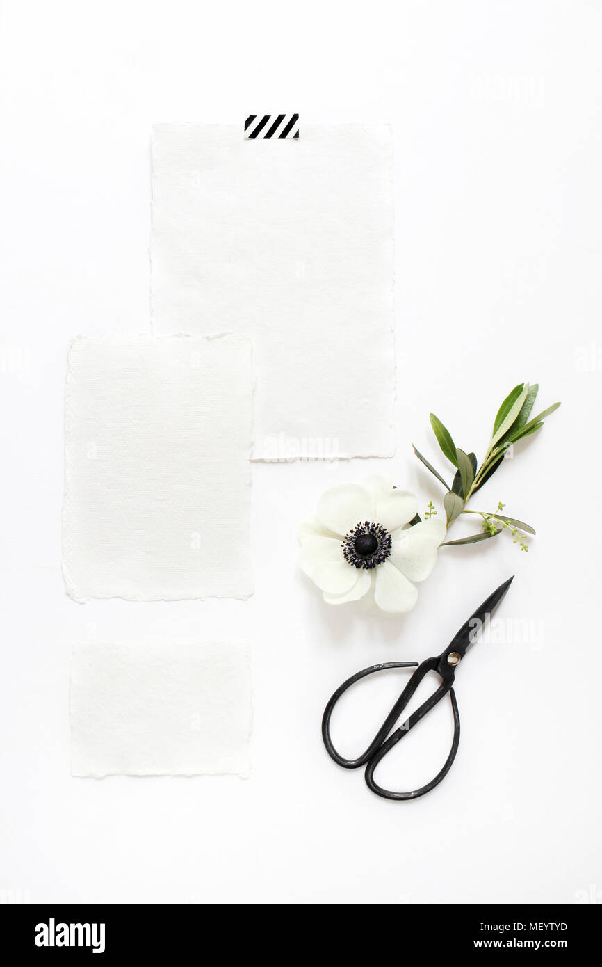Wedding Birthday Desktop Mock Up Scene Blank Cotton Paper Greeting