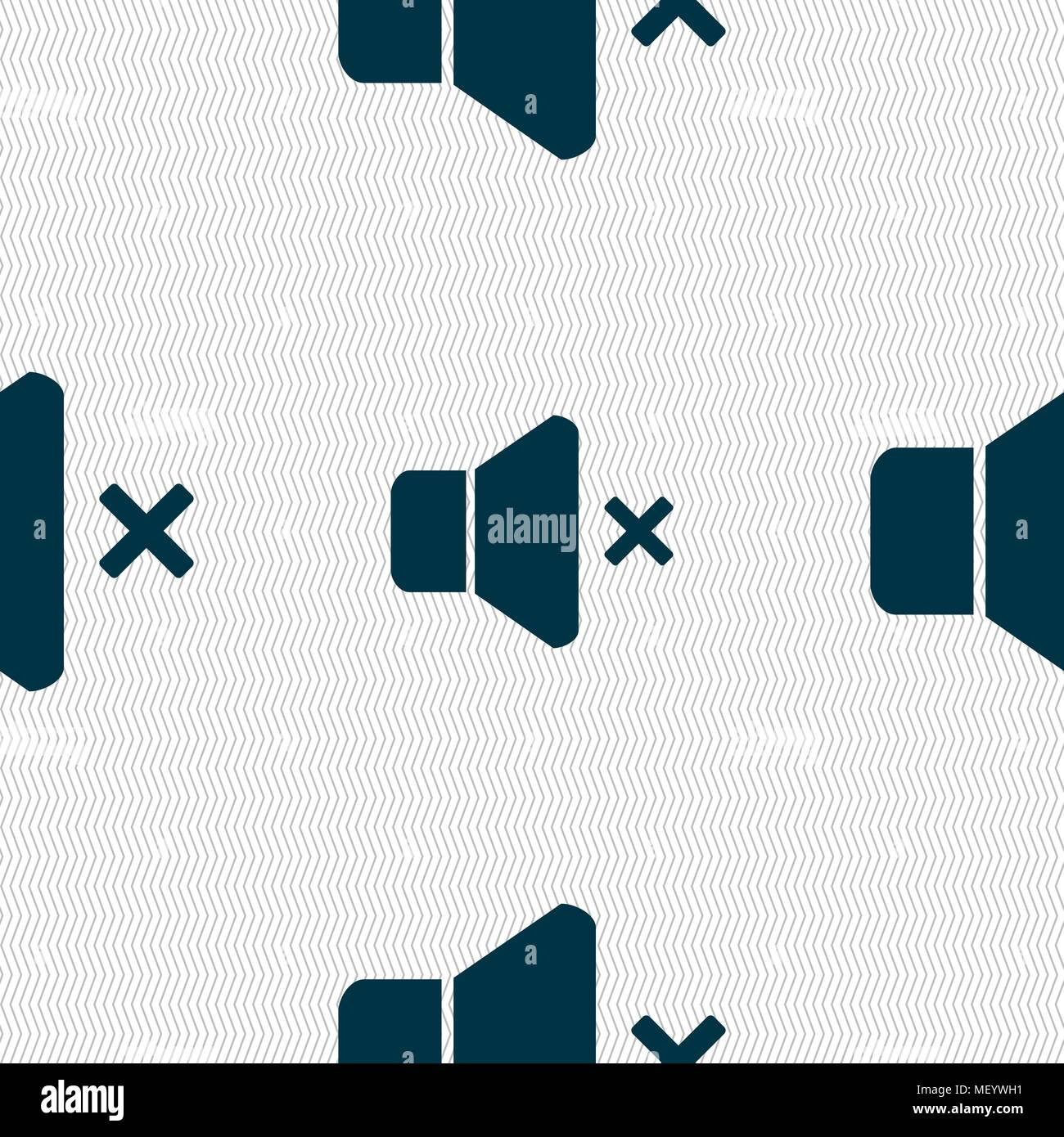 No Volume icon sign. Seamless pattern with geometric texture. Vector illustration Stock Vector