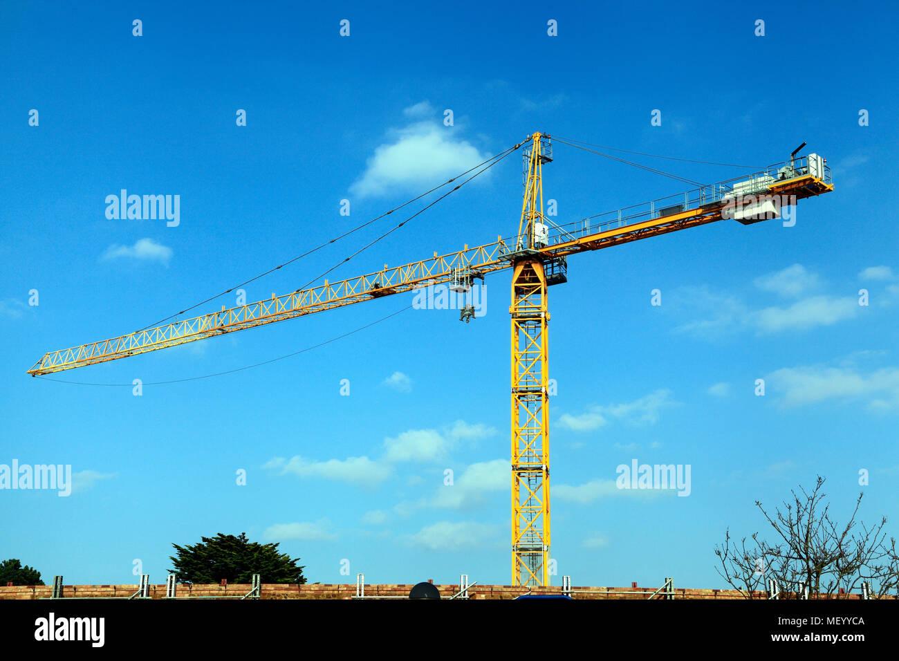 Construction Crane, Building Site, Hunstanton, Norfolk, cranes, sites, England, UK - Stock Image
