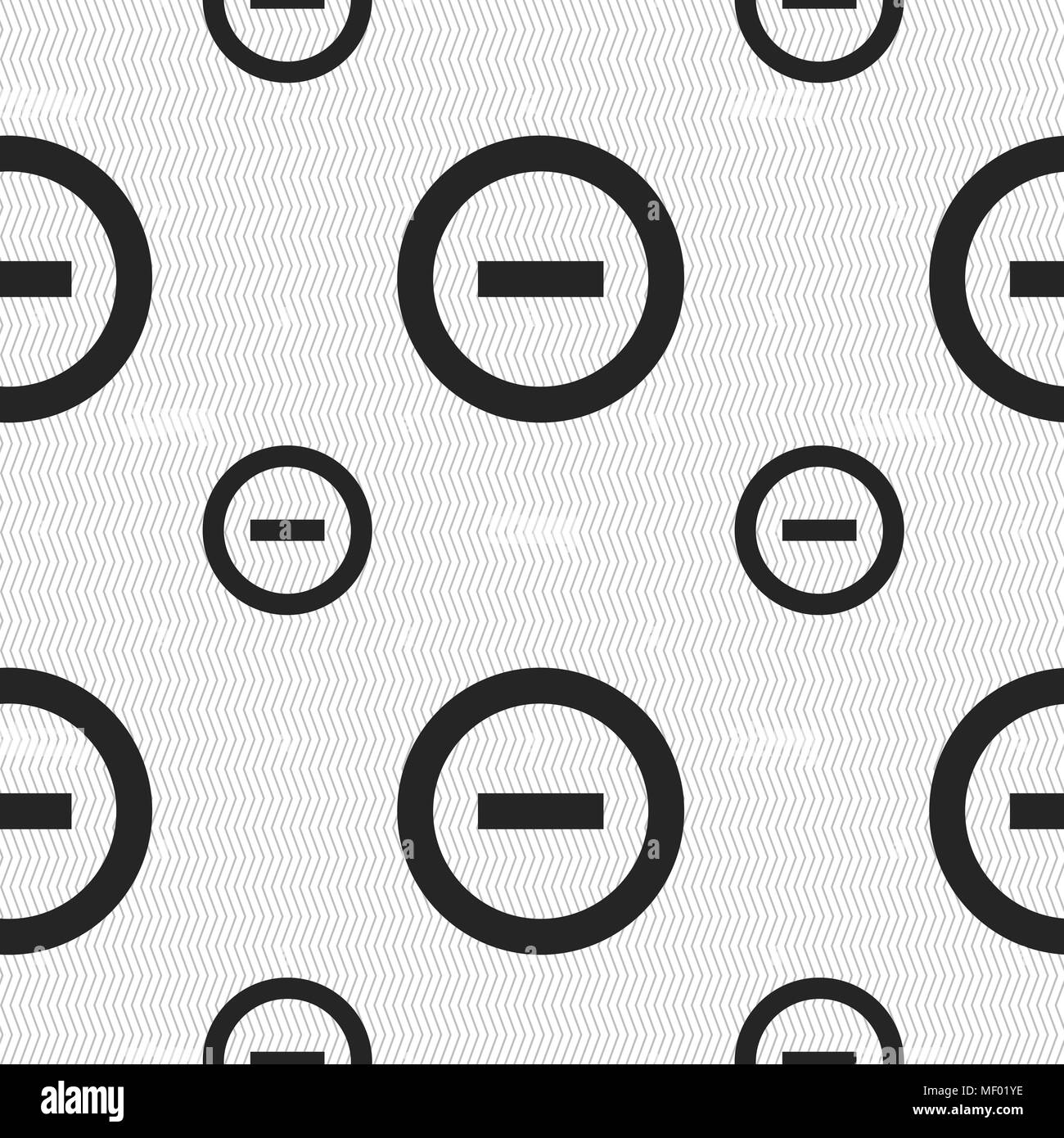 Minus, Negative, zoom, stop icon sign. Seamless pattern with geometric texture. Vector illustration - Stock Image