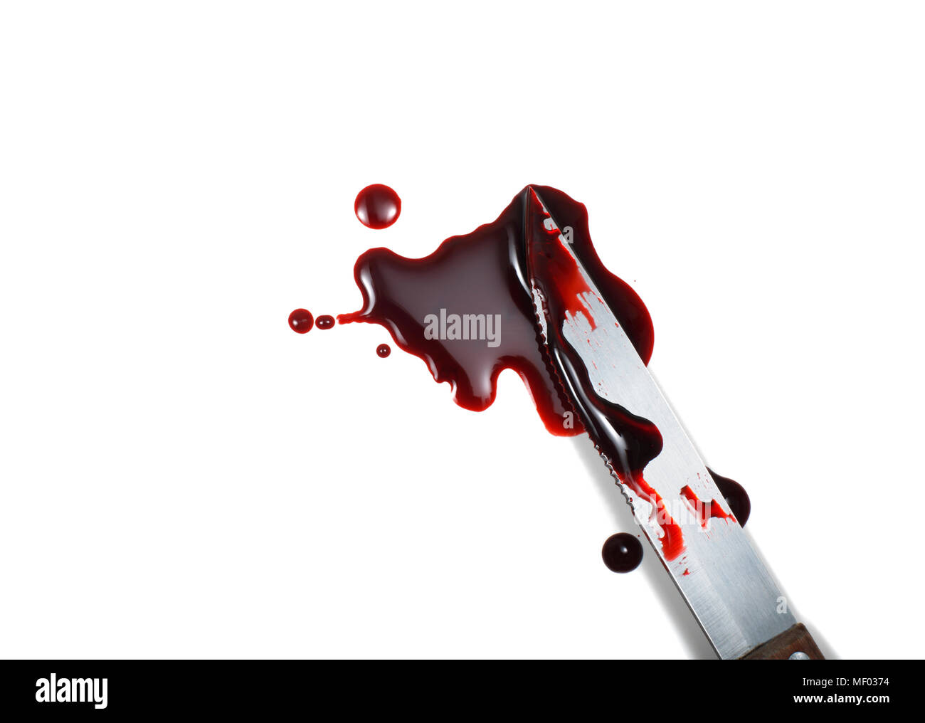 Bloody Knife on White Background - Stock Image