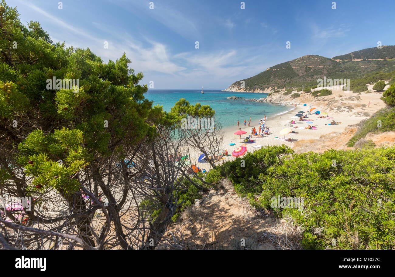 The mediterranean vegetation frames the beach and the turquoise sea of Porto Sa Ruxi Villasimius Cagliari Sardinia Italy Europe - Stock Image
