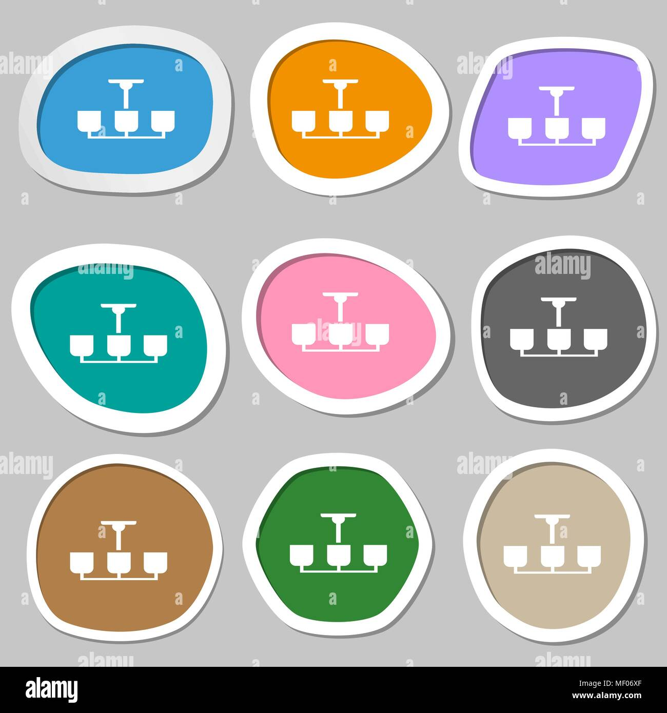 Chandelier Light Lamp icon sign. Multicolored paper stickers. Vector ...