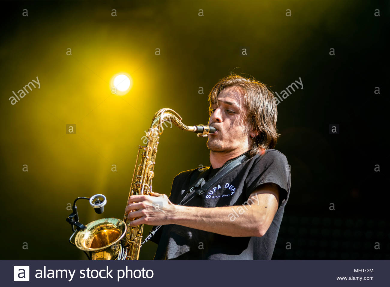Supa Dupa performing live at the first edition of MUSILAC Mont-Blanc music festival in Chamonix (France) - 20 April 2018 Stock Photo