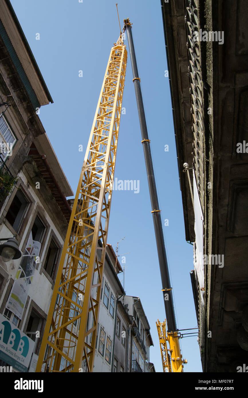 Lifter in the historic center od Braga city in Portugal - Stock Image