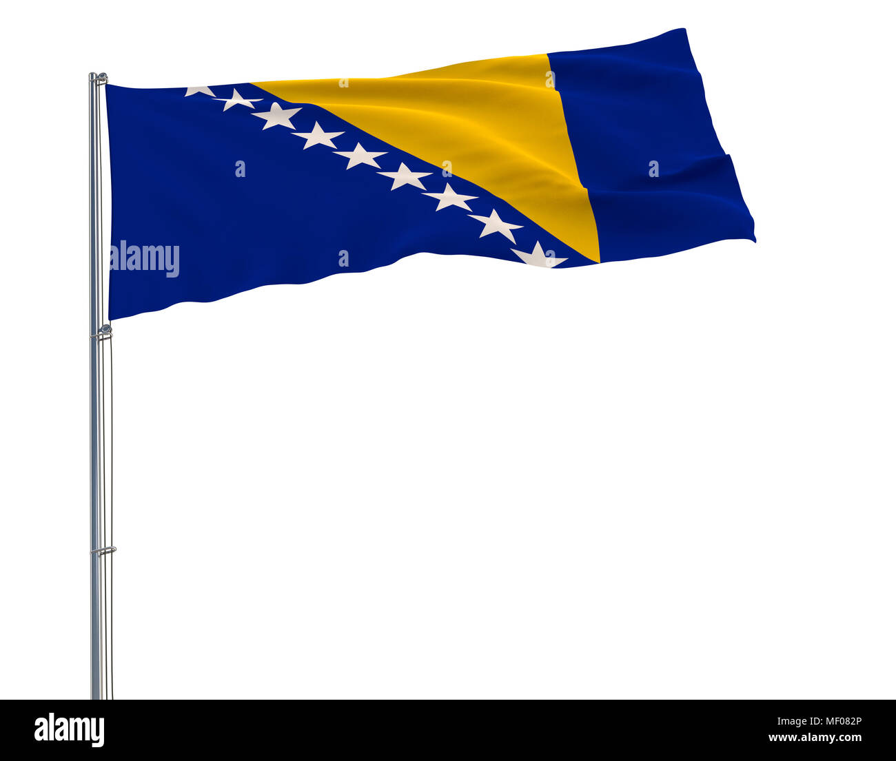 Isolate flag of Bosnia and Herzegovina on a flagpole fluttering in the wind on a white background, 3d rendering - Stock Image