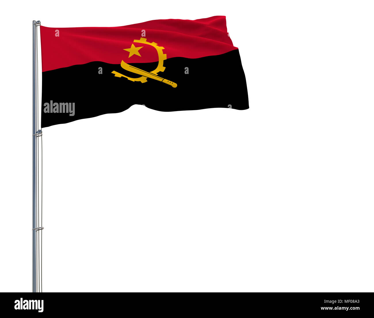 Isolate flag of Angola on a flagpole fluttering in the wind on a white background, 3d rendering - Stock Image