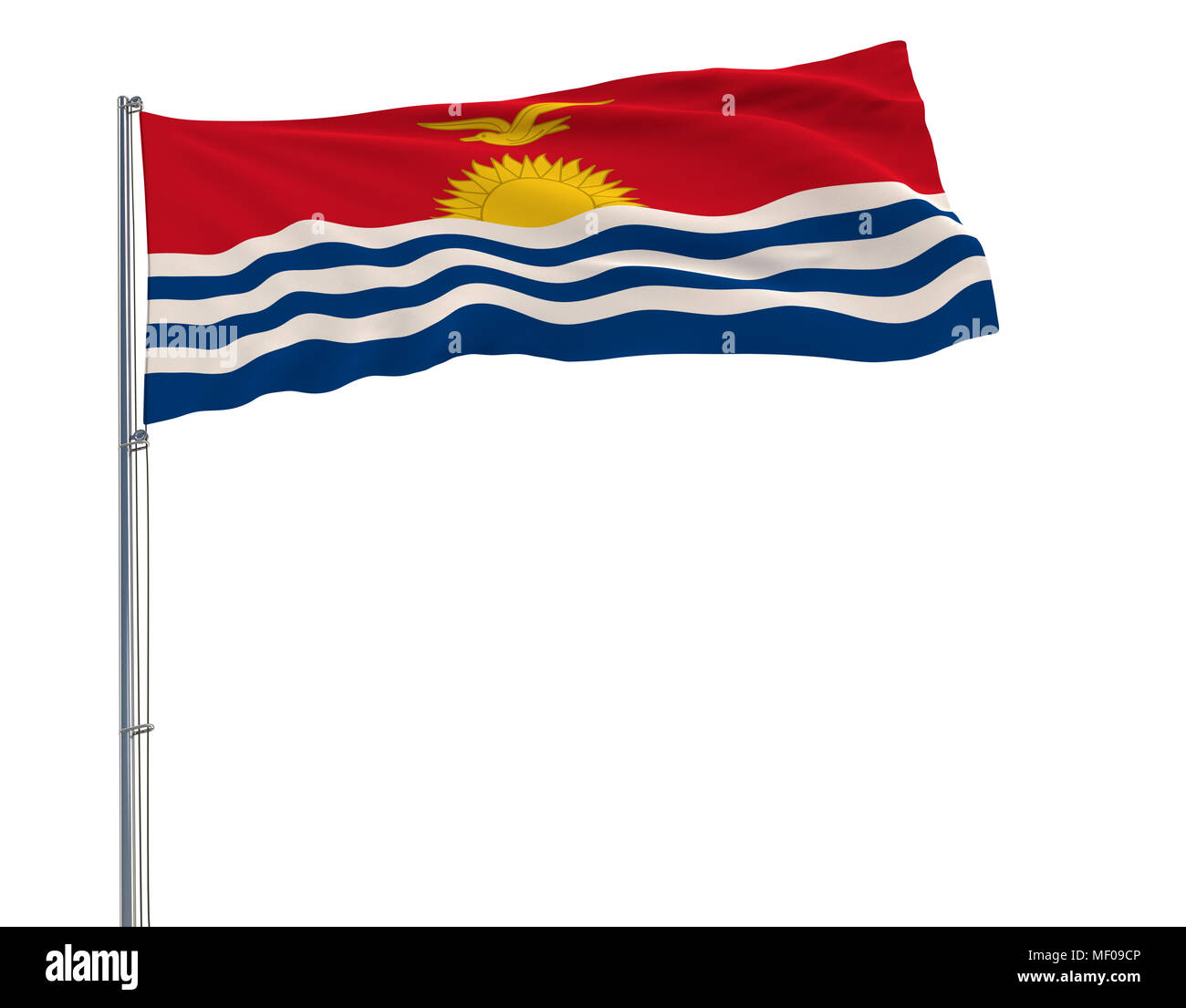 Isolate flag of Kiribati on a flagpole fluttering in the wind on a white background, 3d rendering, 4k prores footage, alpha transparency - Stock Image