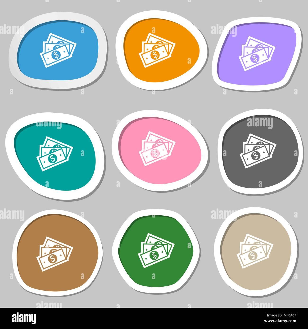 U.s dollar icon symbols. Multicolored paper stickers. Vector illustration - Stock Vector