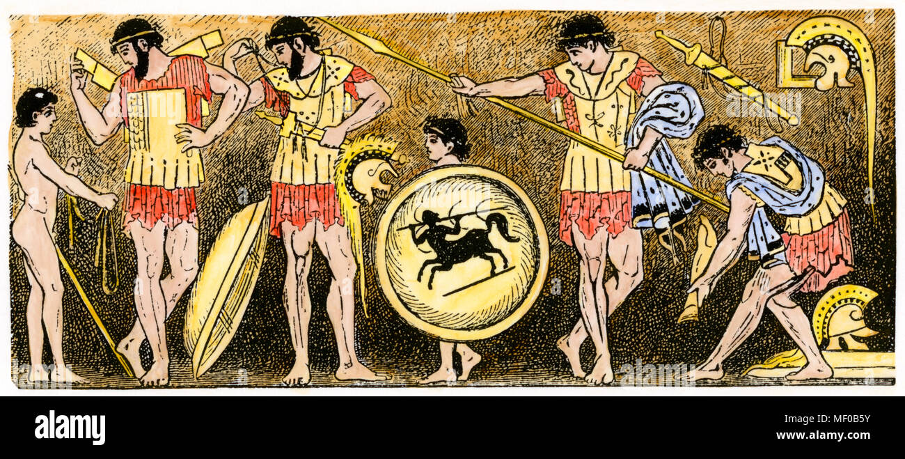 Greek warriors preparing for battle. Hand-colored woodcut from a vase painting - Stock Image