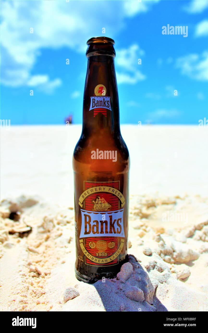 A close-up of a cool bottle of Banks Caribbean lager, placed on the sand with the sun shining above and blue sky in the background. - Stock Image