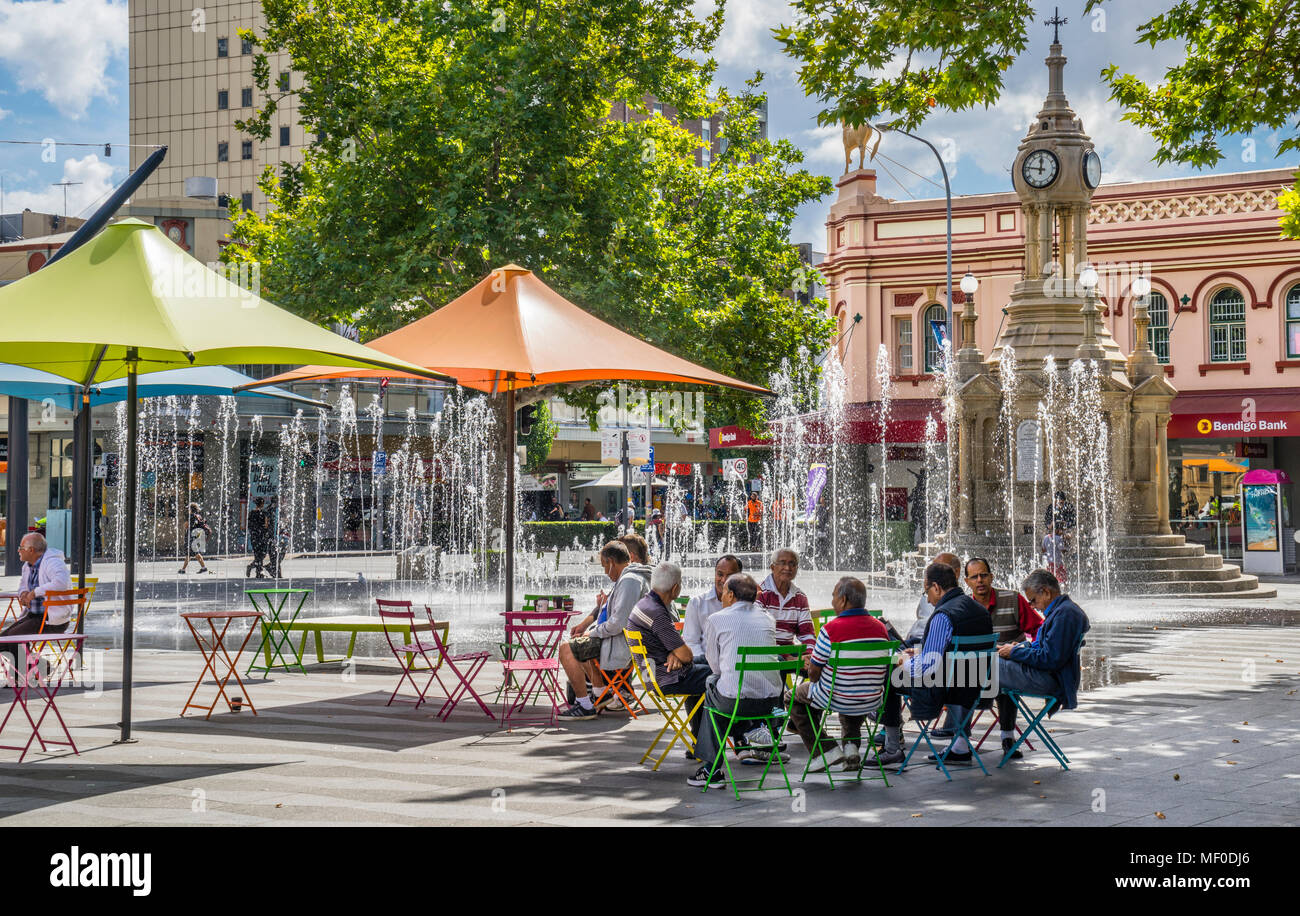 relaxed atmosphere at Bicentenial Square, Parramatta, the economic capital of Greater Western Sydney, New South Wales, Australia - Stock Image