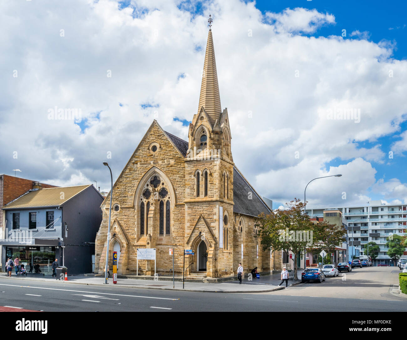 former Congregational Church at Church Street, Victorian Gothic sandstone architecture, Parramatta, the economic capital of Greater Western Sydney, Ne - Stock Image