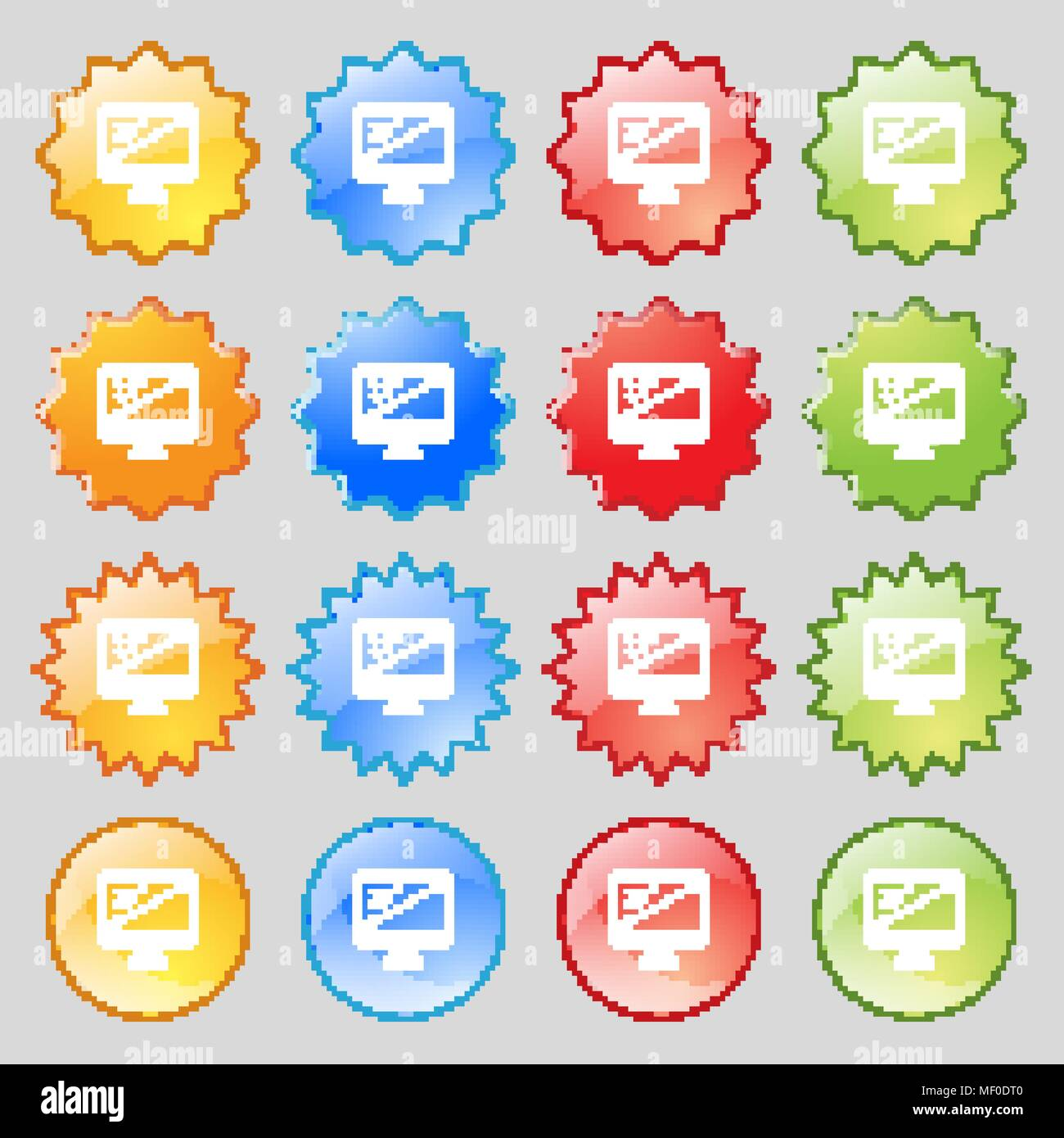 diagonal of the monitor 23 inches icon sign. Big set of 16 colorful modern buttons for your design. Vector illustration - Stock Vector