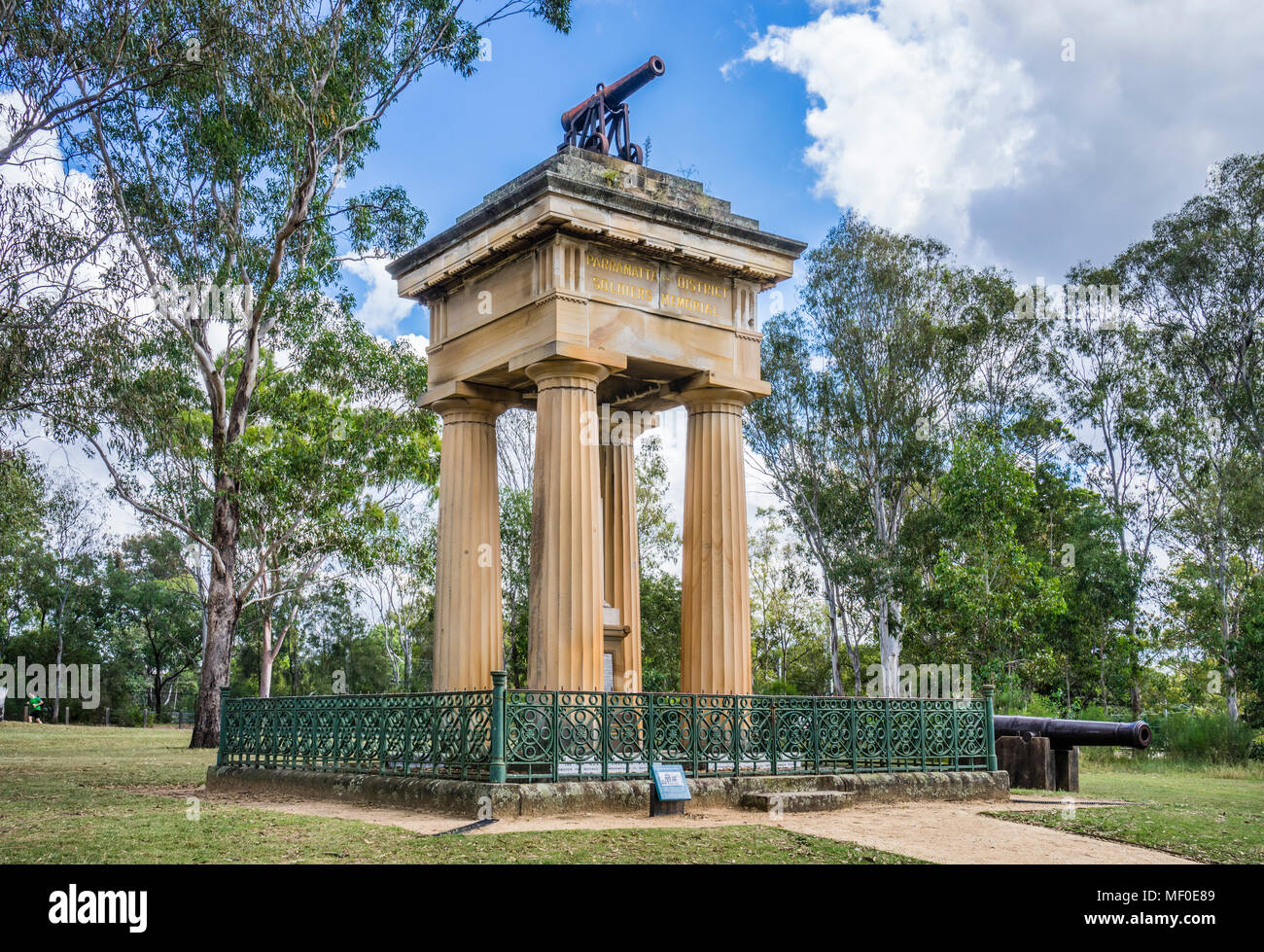 The Boer War Memorial at Parramatta Park commemorates the Parramatta Lancers' contribution to the 1899 -1902 War fought by the British Empire against  - Stock Image