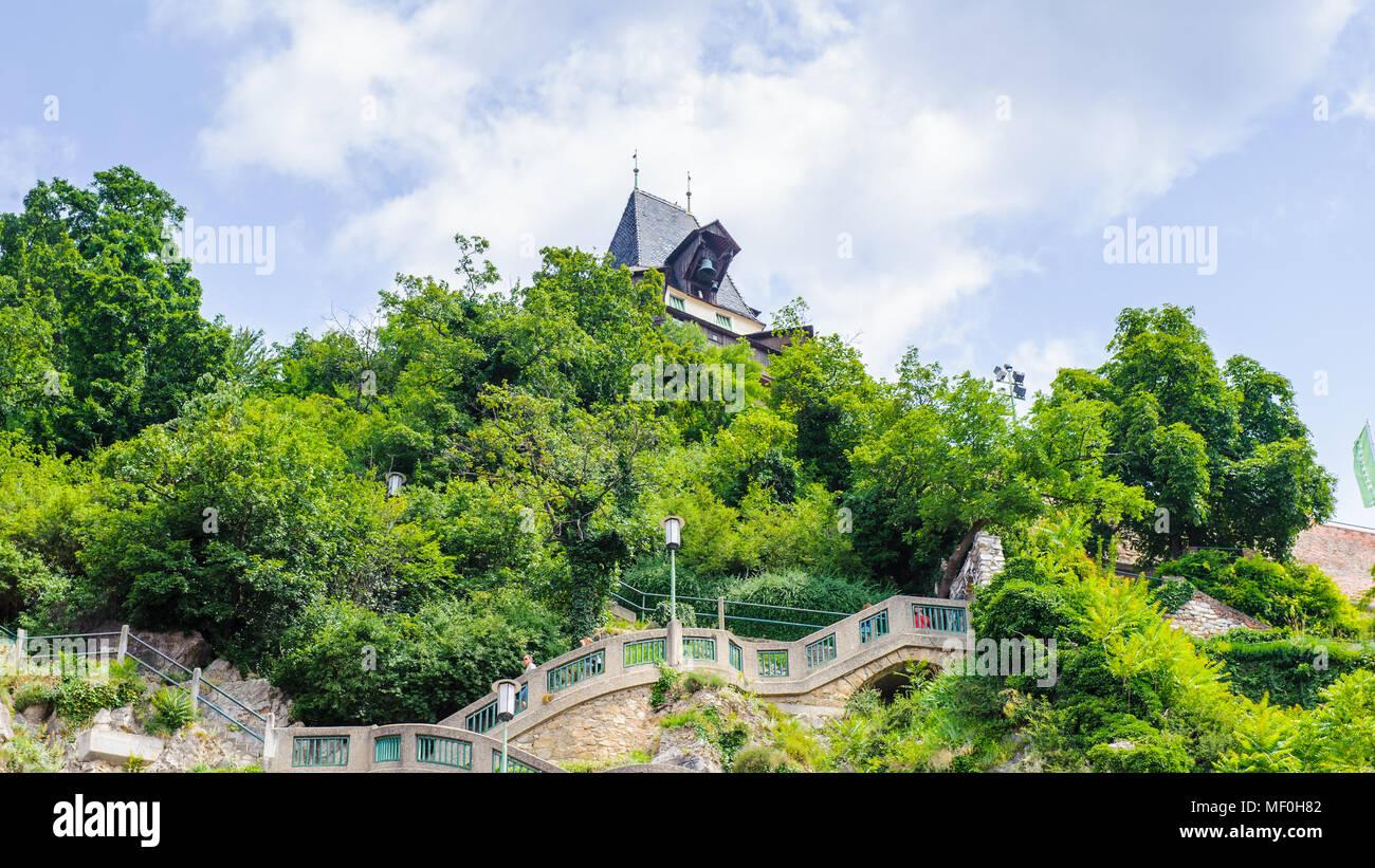 Schlossberg (Castle Hill), mountain in Graz. Part of the UNESCO World heritage in Graz, Austria Stock Photo