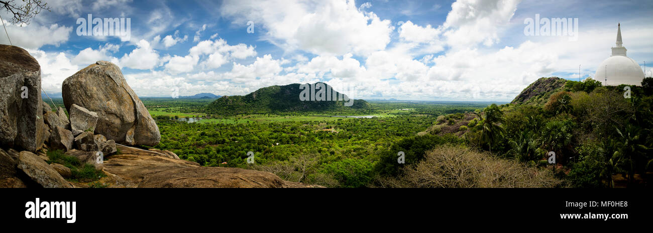Sri Lanka, view from Mihintale monastery with Dagoba in foreground Stock Photo