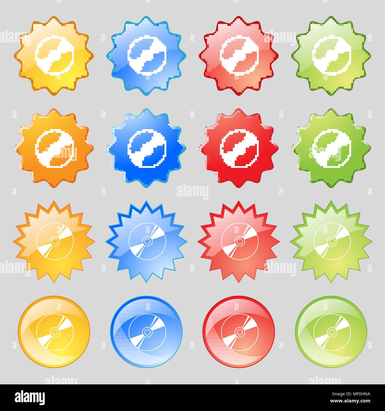 Cd, DVD, compact disk, blue ray icon sign. Set from fourteen multi-colored glass buttons with place for text. Vector illustration Stock Vector