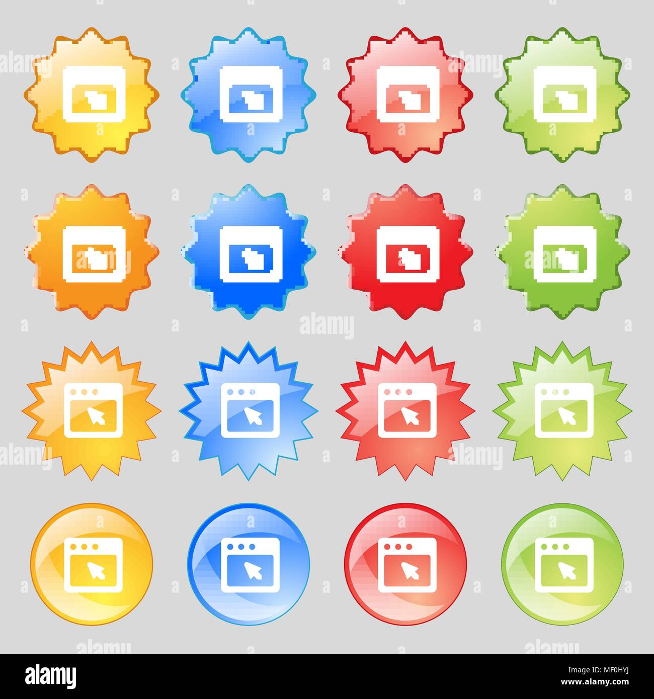 74717ea53 the dialog box icon sign. Set from fourteen multi-colored glass buttons  with place for text. Vector illustration
