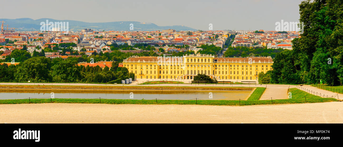 Schonbrunn Palace, the palace and gardens illustrate the tastes, interests, and aspirations of successive Habsburg monarchs - Stock Image