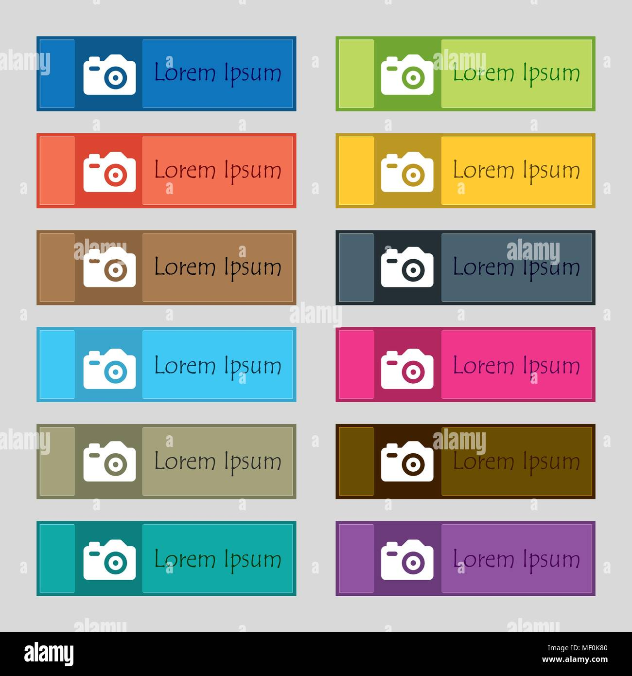Photo Camera  icon sign. Set of twelve rectangular, colorful, beautiful, high-quality buttons for the site. Vector illustration - Stock Vector