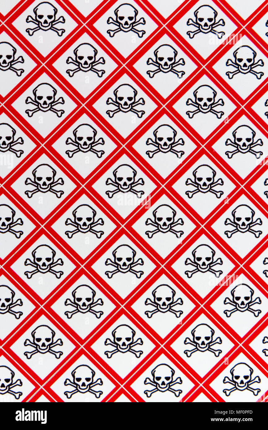 A sheet of the CLP Regulation/GHS chemical warning labels for Acute toxicity (Symbol: Skull and crossbones) materials. - Stock Image