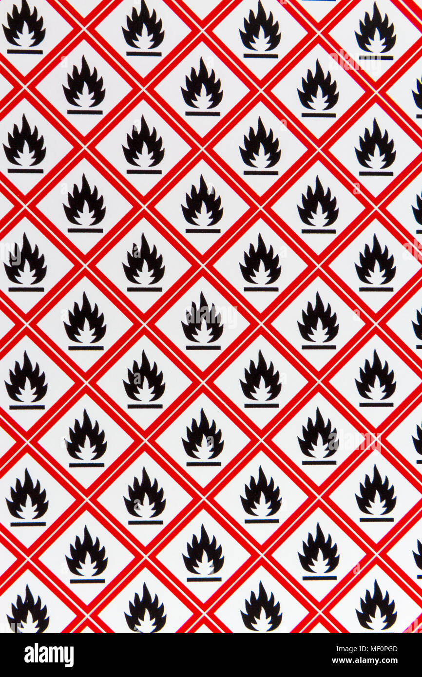 A sheet of the CLP Regulation/GHS chemical warning labels for Flammable (Symbol: flame) materials. - Stock Image