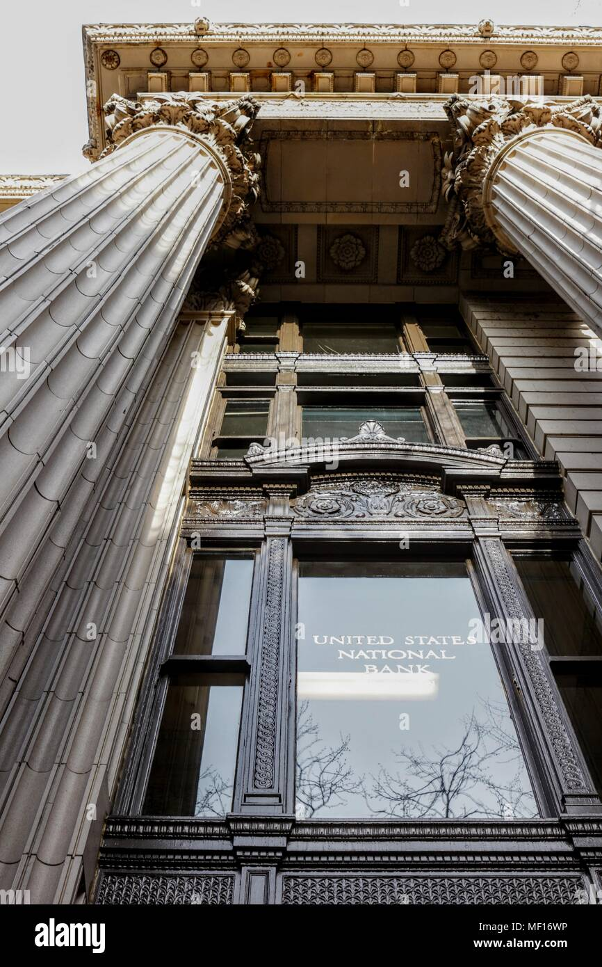 Portland, Oregon / USA - April 3, 2018:  The United States National Bank buidling in downtown Portland is a beautiful example of architecture. - Stock Image