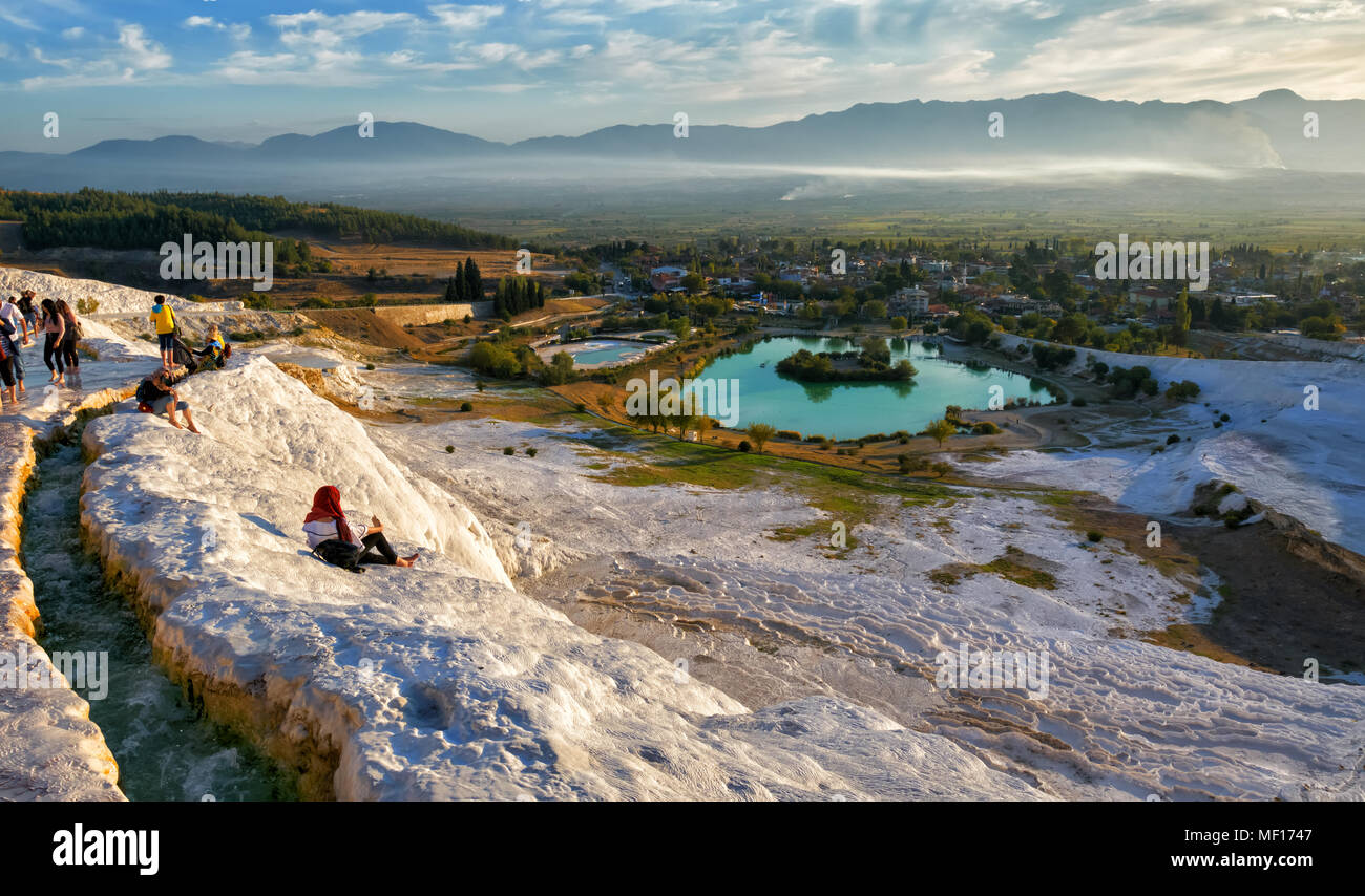 Picturesque view of Pamukkale in the autumn evening against a clear blue sky. Turkey - Stock Image