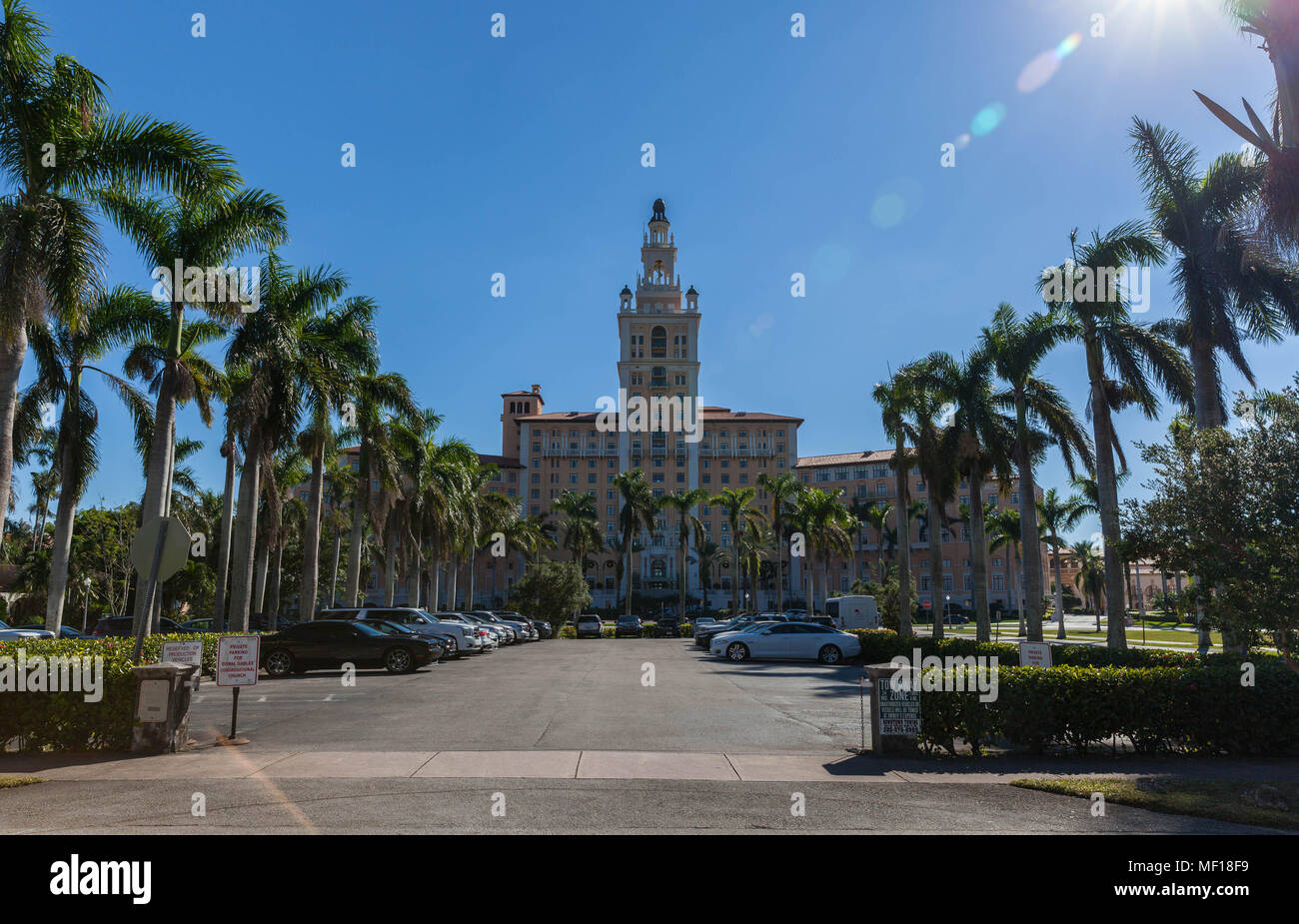 The Miami Biltmore Hotel seen from 1200 Malaga Avenue, Coral Gables, Miami-Dade, Florida, USA. - Stock Image