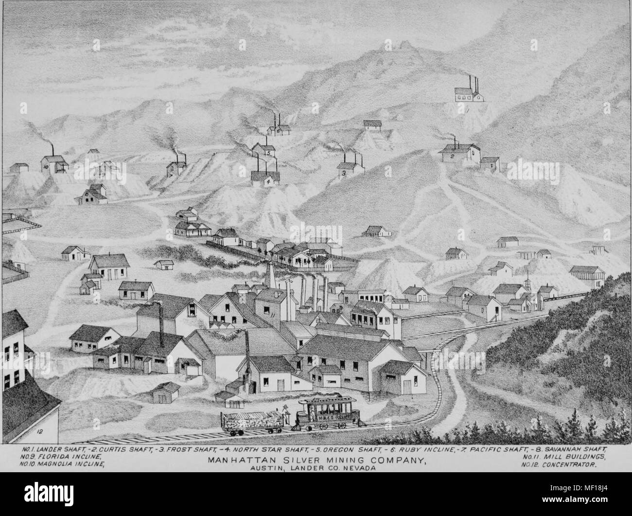Hand-drawn map of mines operated by the Manhattan Silver Mining Company in Austin, Nevada, 1881. Courtesy Internet Archive. () - Stock Image