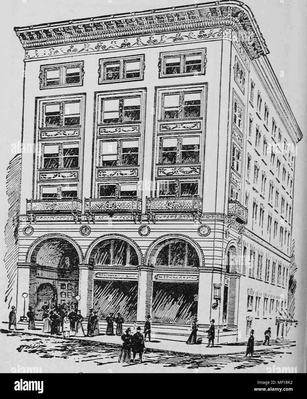 Pen and ink drawing of Steinert Hall, Boylston Street, Boston, Massachusetts, 1878. Courtesy Internet Archive. () - Stock Image