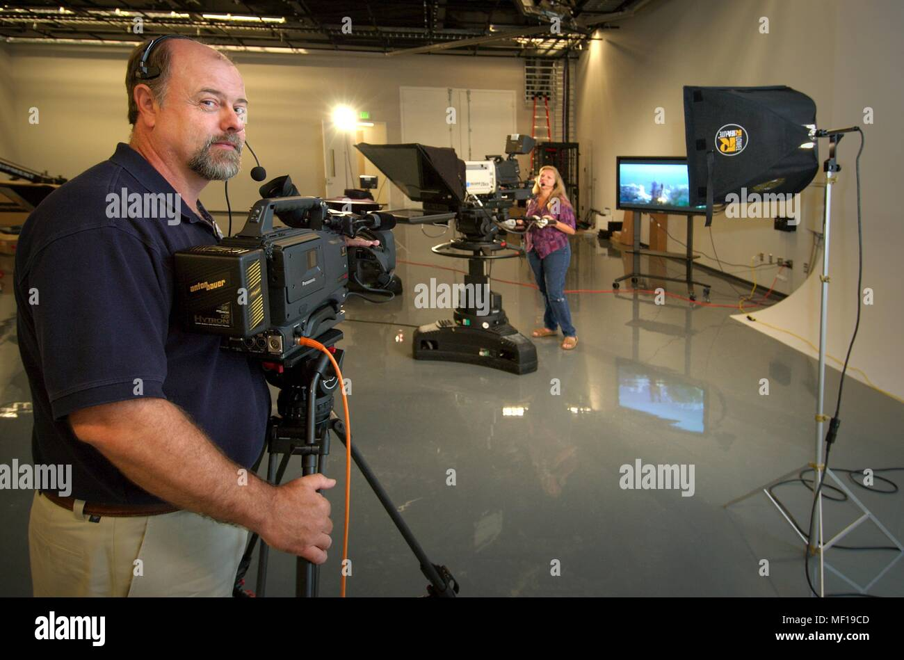 Cameraman shooting a live show at Centers for Disease Control (CDC
