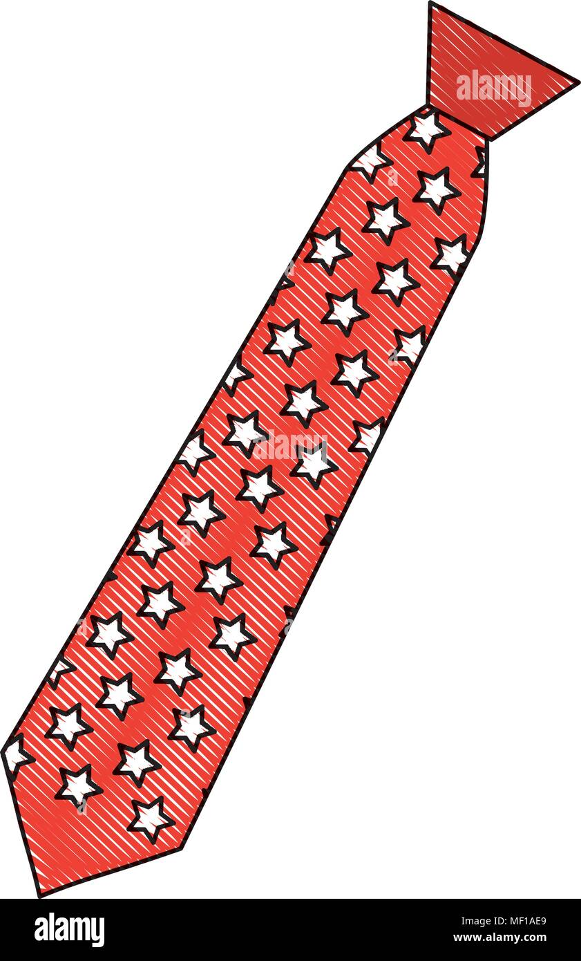necktie masculine with stars icon - Stock Image