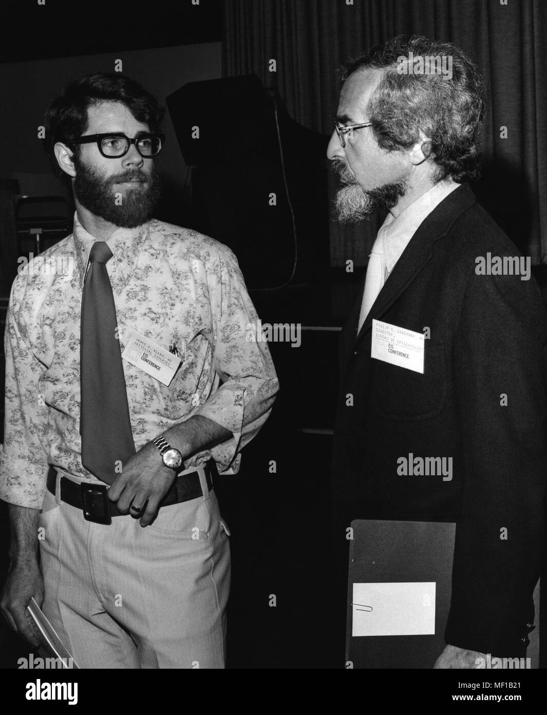 James R. Allen, M.D. M.P.H. and E.I.S. Class of '72, and Philip S. Brachman, M.D. and E.I.S. Class of '54 attending an annual Epidemic Intelligence Service (EIS) Conference, 1976. Image courtesy Centers for Disease Control (CDC). () - Stock Image