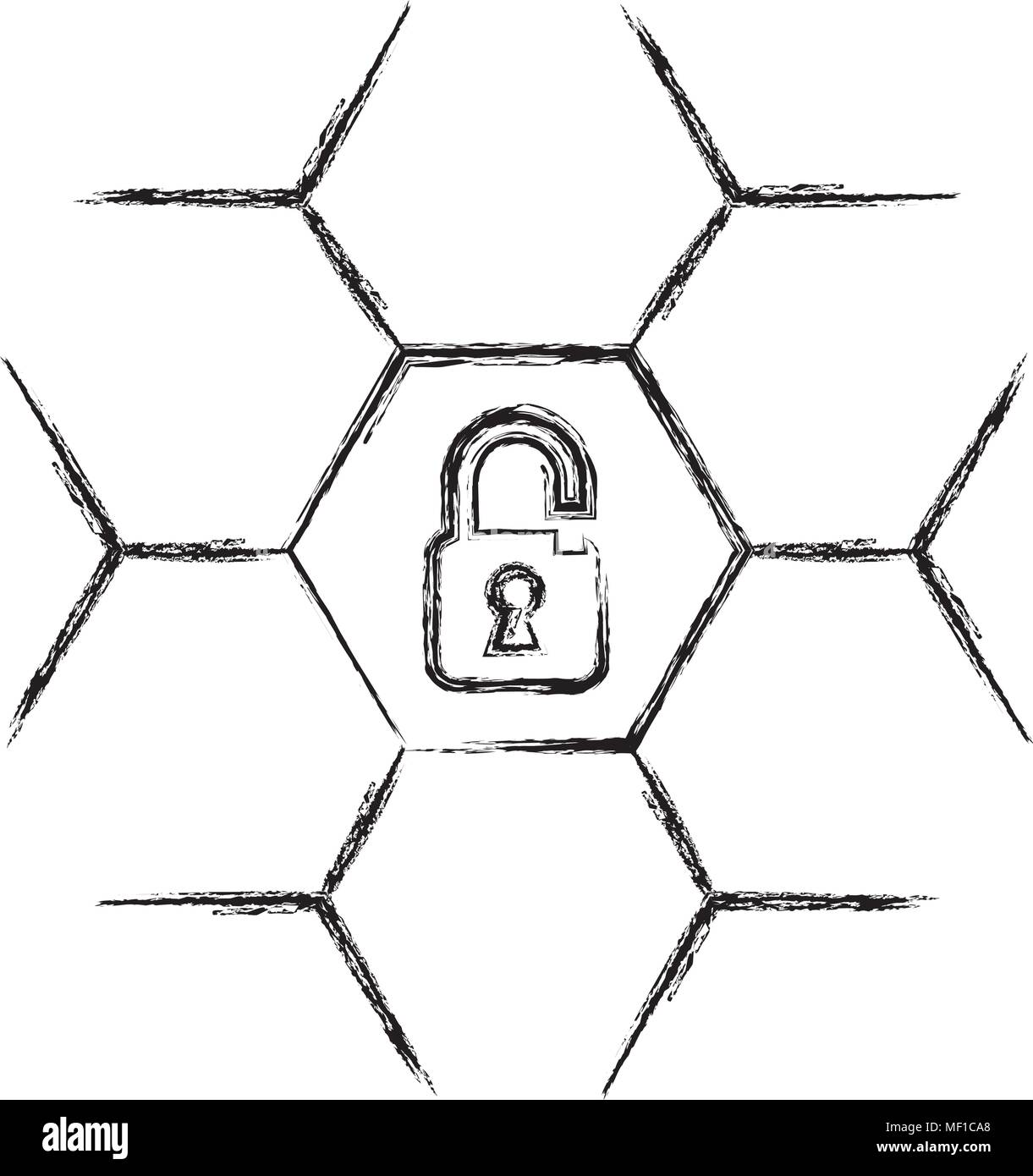 safe secure padlock icon - Stock Image