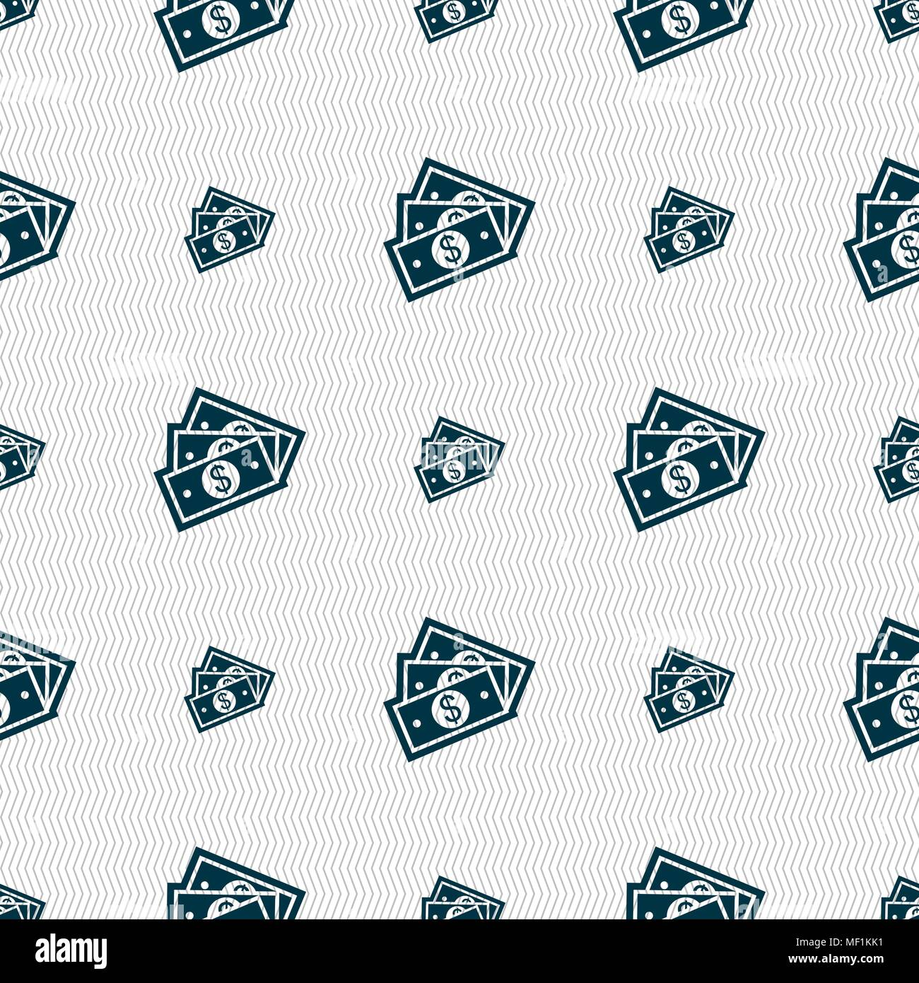 U.s dollar icon sign. Seamless pattern with geometric texture. Vector illustration - Stock Vector