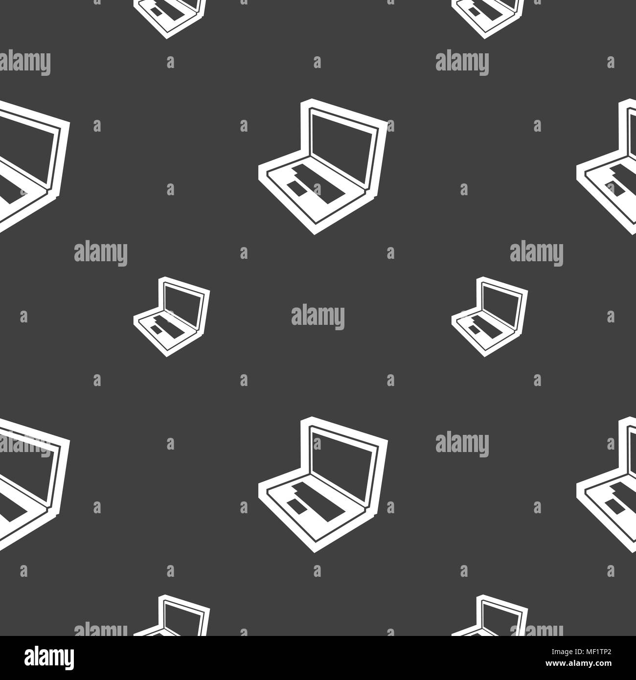 Laptop icon sign. Seamless pattern on a gray background. Vector illustration Stock Vector