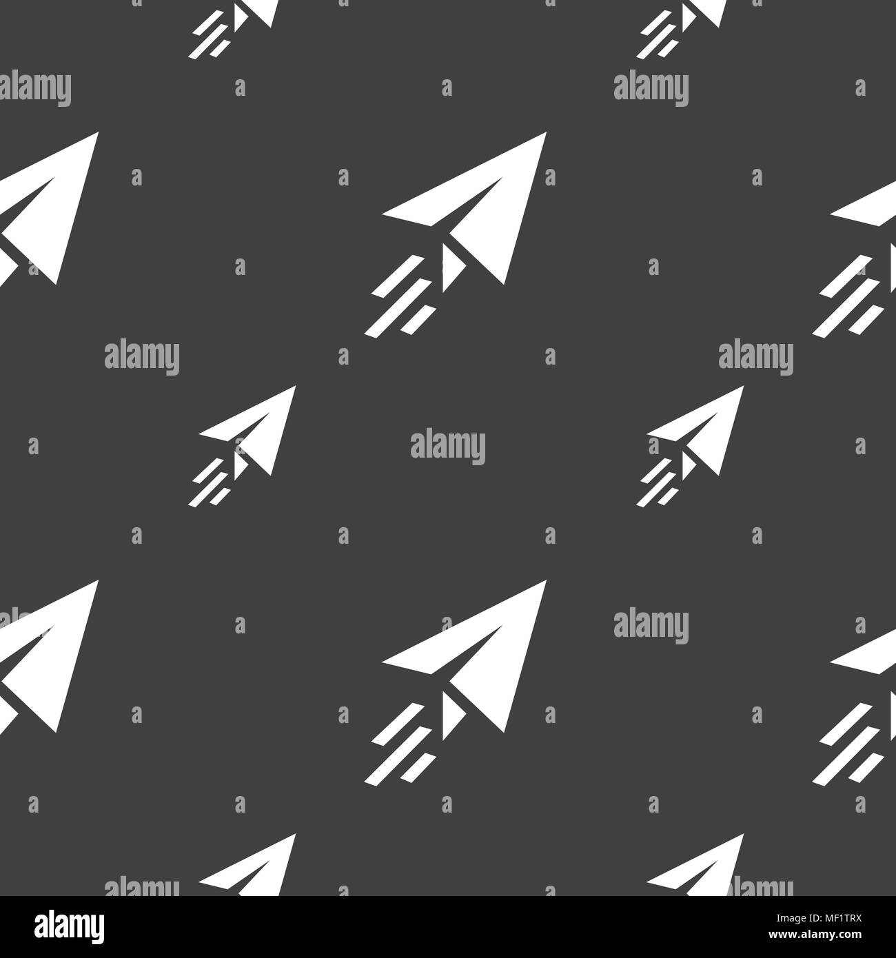 Paper airplane icon sign. Seamless pattern on a gray background. Vector illustration Stock Vector