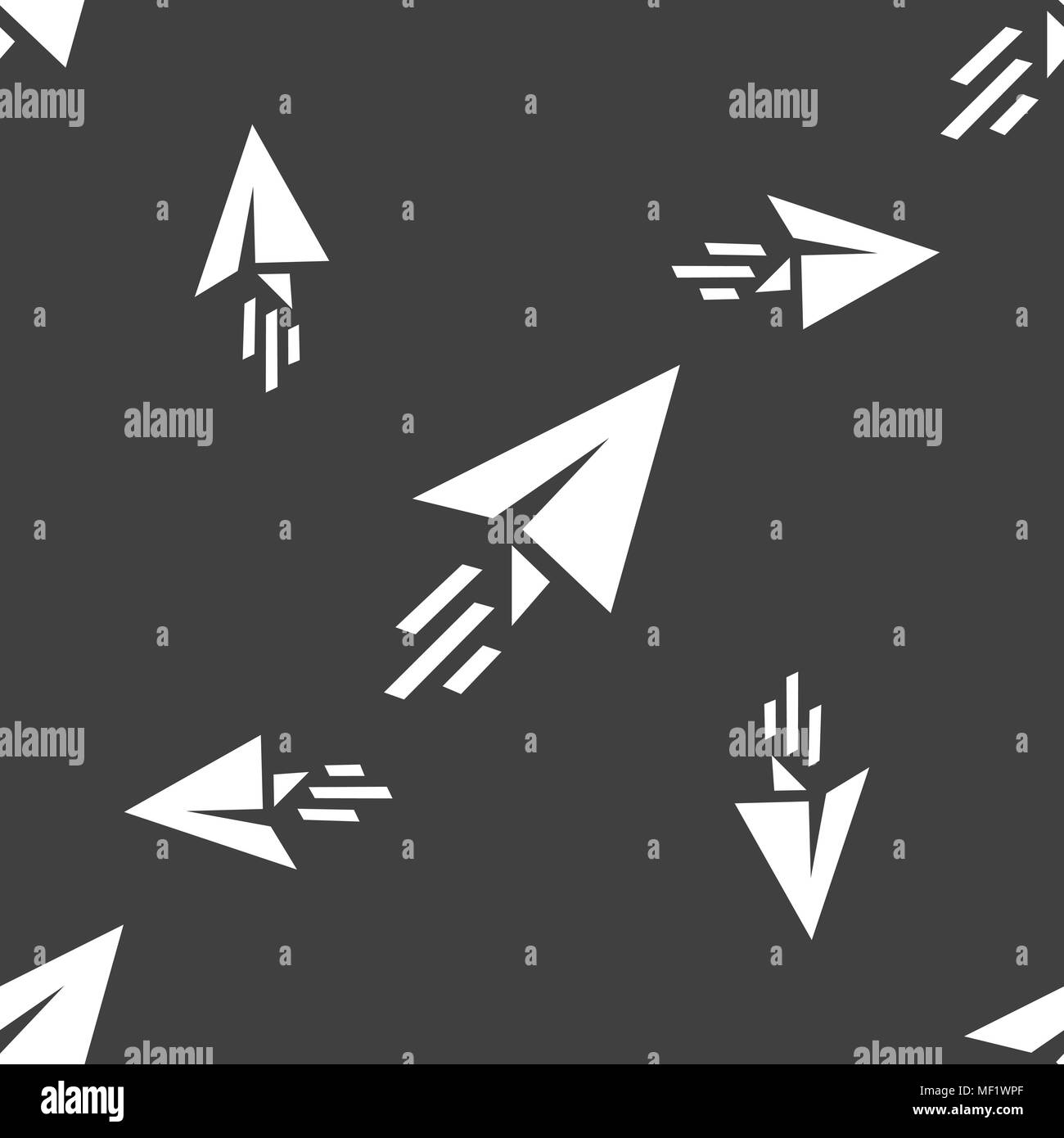 Paper airplane icon sign. Seamless pattern on a gray background. Vector illustration - Stock Image