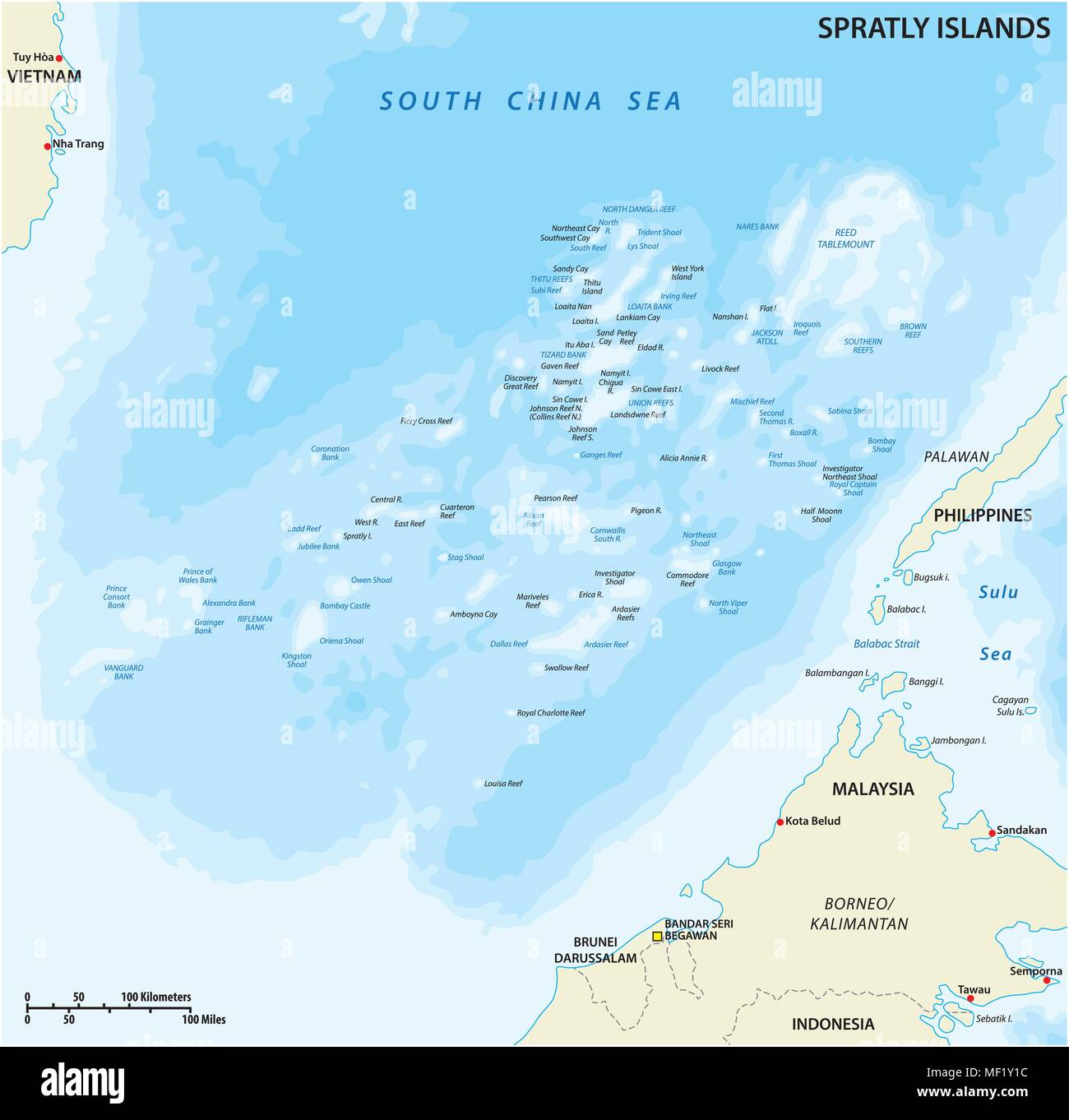 Map of the Malaysia, Philippines, Taiwan, Vietnam, People's Republic of China and Brunei controversial Spratly Islands in the South China Sea - Stock Image