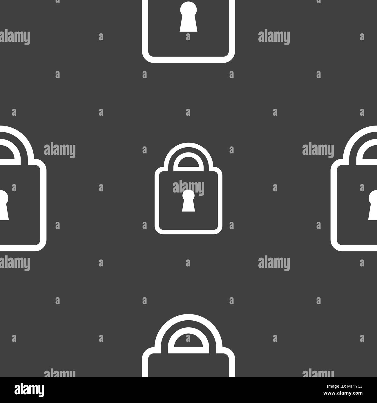 Lock icon sign. Seamless pattern on a gray background. Vector illustration - Stock Image