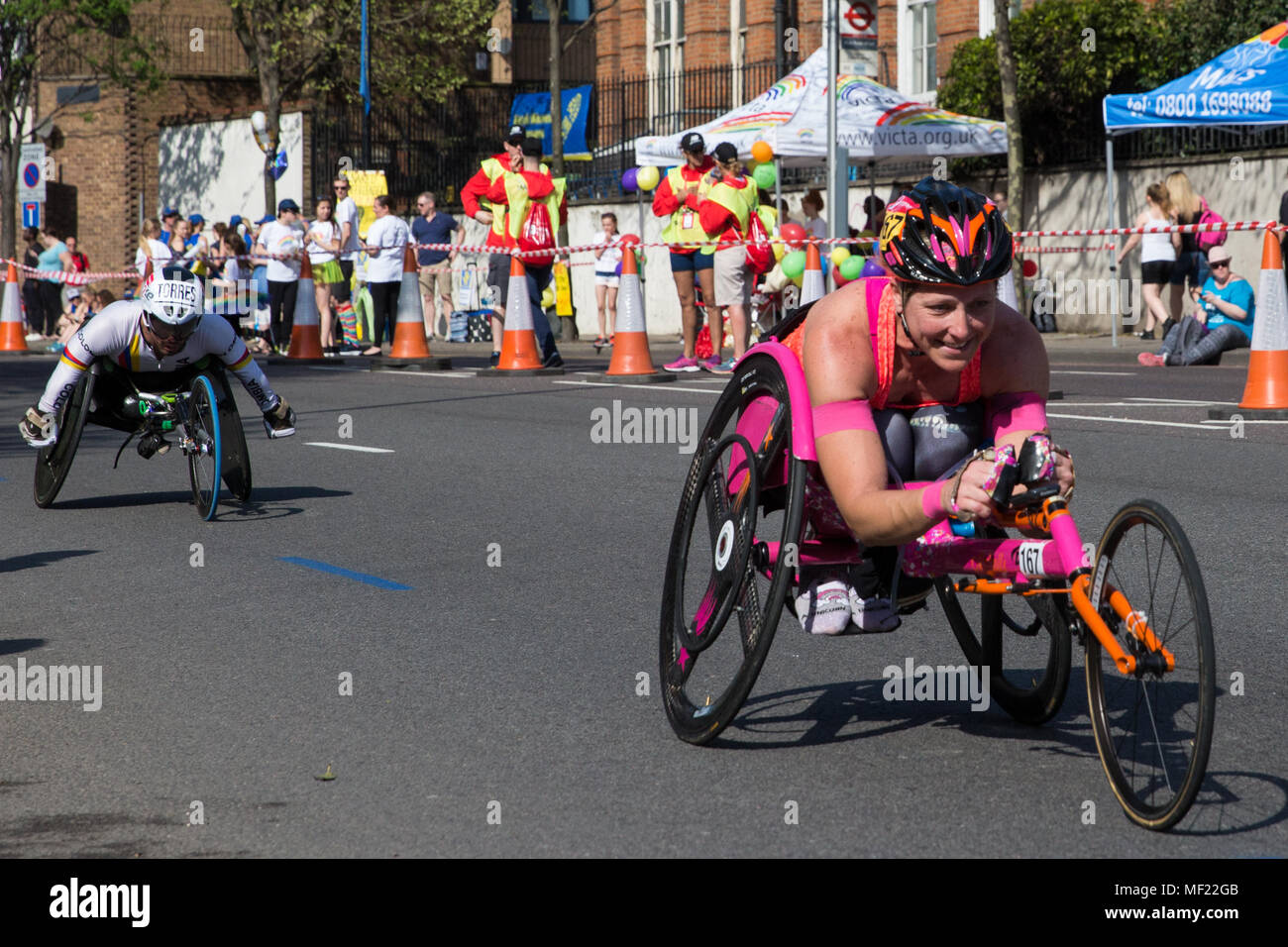 London, UK. 22nd April, 2018. Mel Nicholls of Great Britain competes in the T53/T54 wheelchair event at the 2018 Virgin Money London Marathon. The 38th edition of the race was the hottest on record with a temperature of 24.1C recorded in St James's Park. - Stock Image