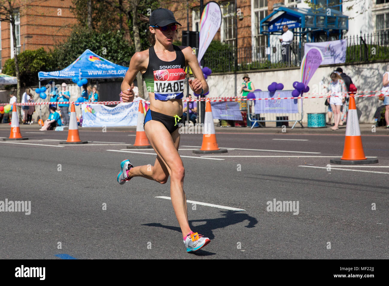 London, UK. 22nd April, 2018. Rebecca Wade of the United States competes in the Elite Women's event at the 2018 Virgin Money London Marathon. The 38th edition of the race was the hottest on record with a temperature of 24.1C recorded in St James's Park. - Stock Image