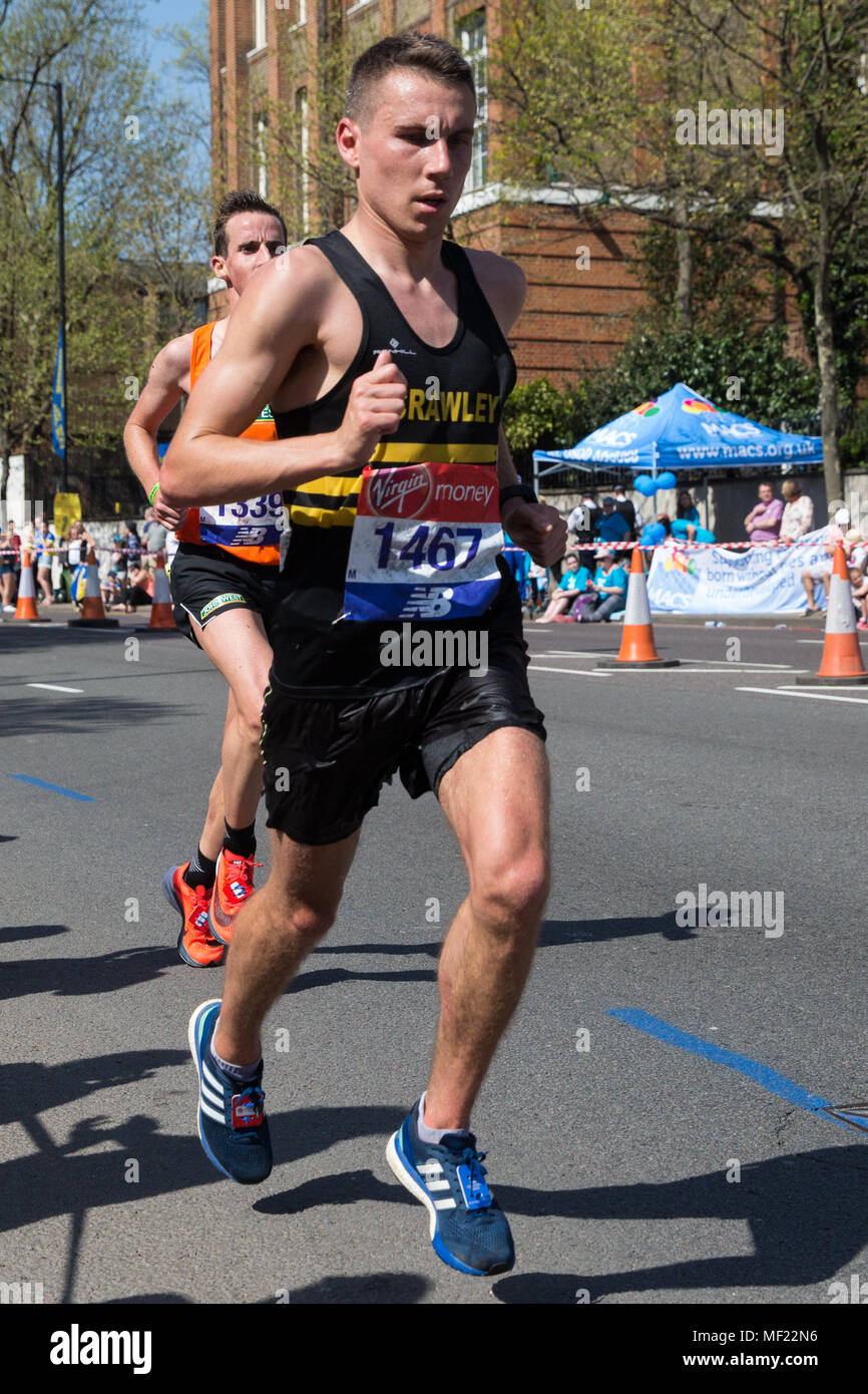 London, UK. 22nd April, 2018. James Westlake of Crawley AC competes in the 2018 Virgin Money London Marathon. The 38th edition of the race was the hottest on record with a temperature of 24.1C recorded in St James's Park. - Stock Image