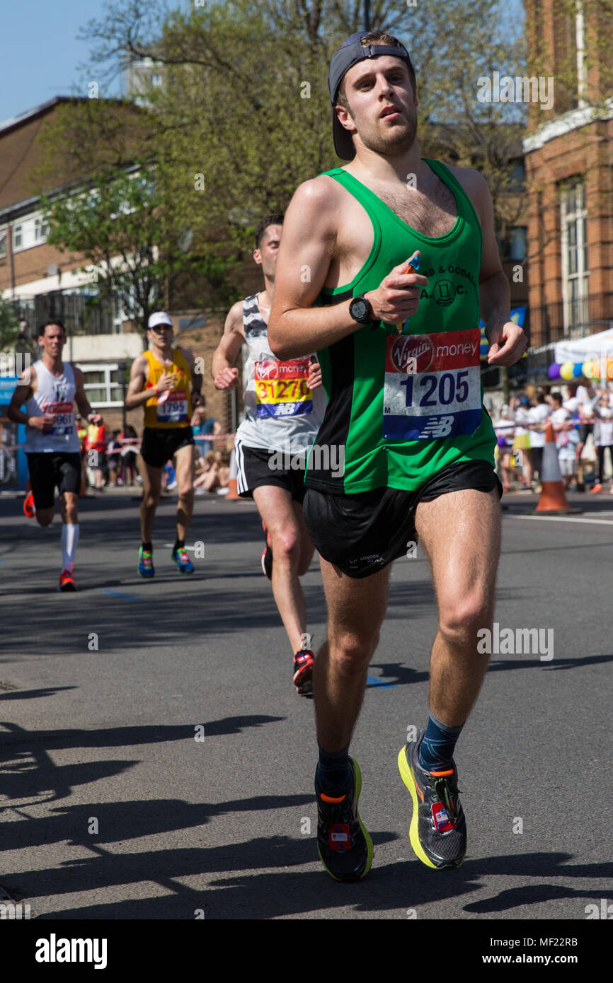 London, UK. 22nd April, 2018. Simon Goldsworthy of Guildford and Godalming AC competes in the 2018 Virgin Money London Marathon. The 38th edition of the race was the hottest on record with a temperature of 24.1C recorded in St James's Park. - Stock Image