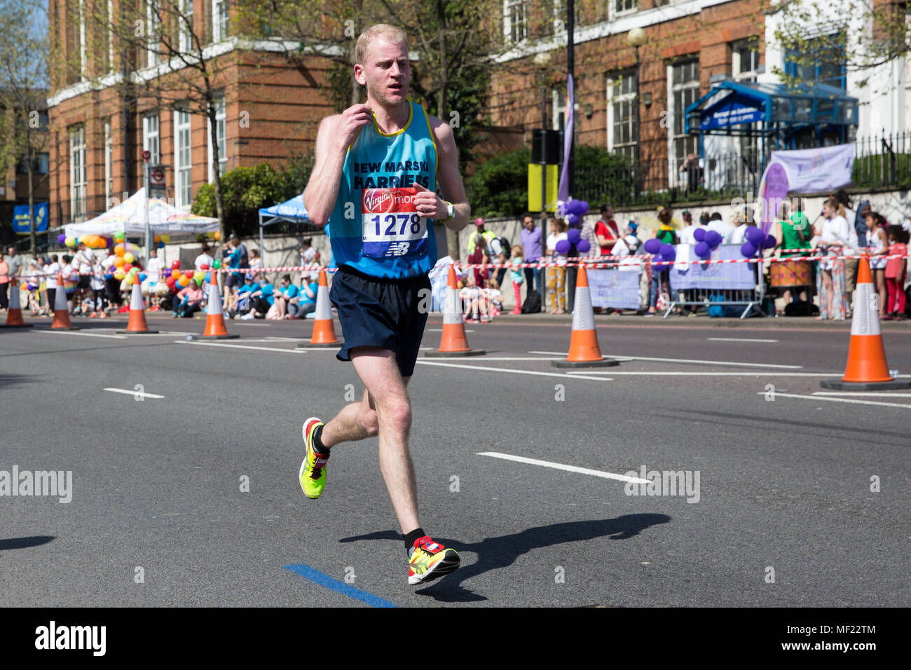 London, UK. 22nd April, 2018. Lewis Gamble-Thompson of New Marske Harriers Club competes in the 2018 Virgin Money London Marathon. The 38th edition of the race was the hottest on record with a temperature of 24.1C recorded in St James's Park. Stock Photo